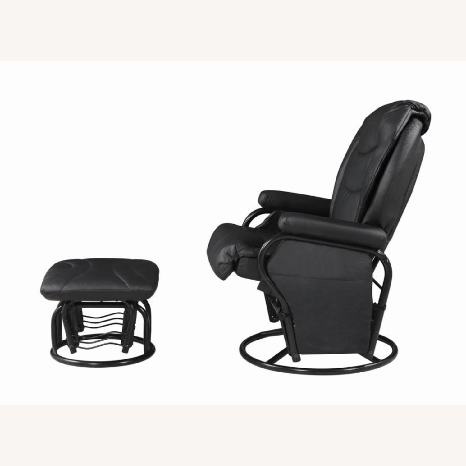 Glider W/ Ottoman In Black Leatherette Upholstery - image-2