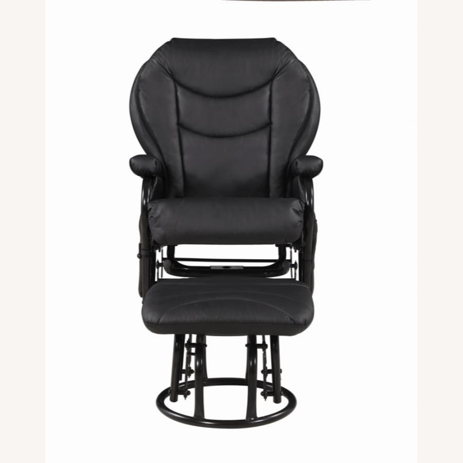 Glider W/ Ottoman In Black Leatherette Upholstery - image-1