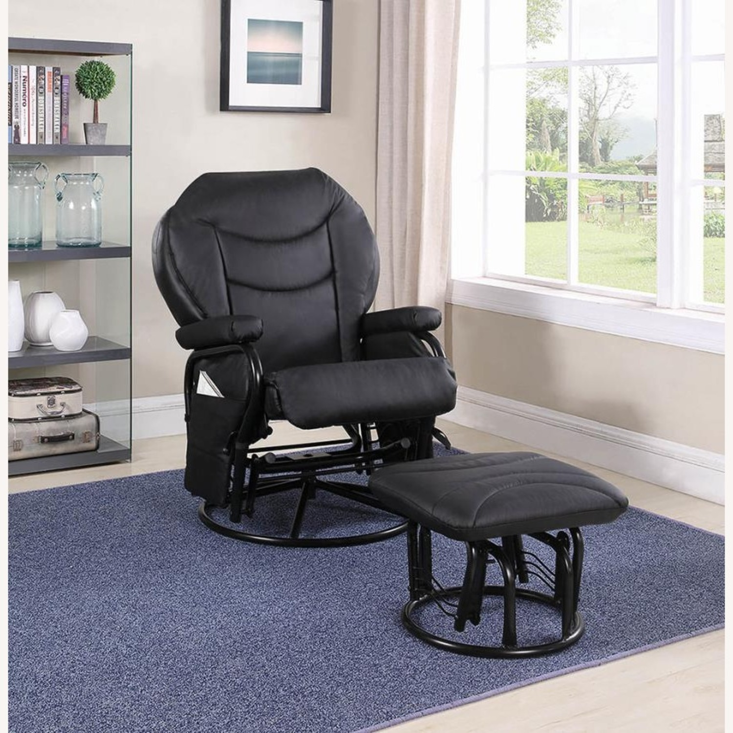 Glider W/ Ottoman In Black Leatherette Upholstery - image-5