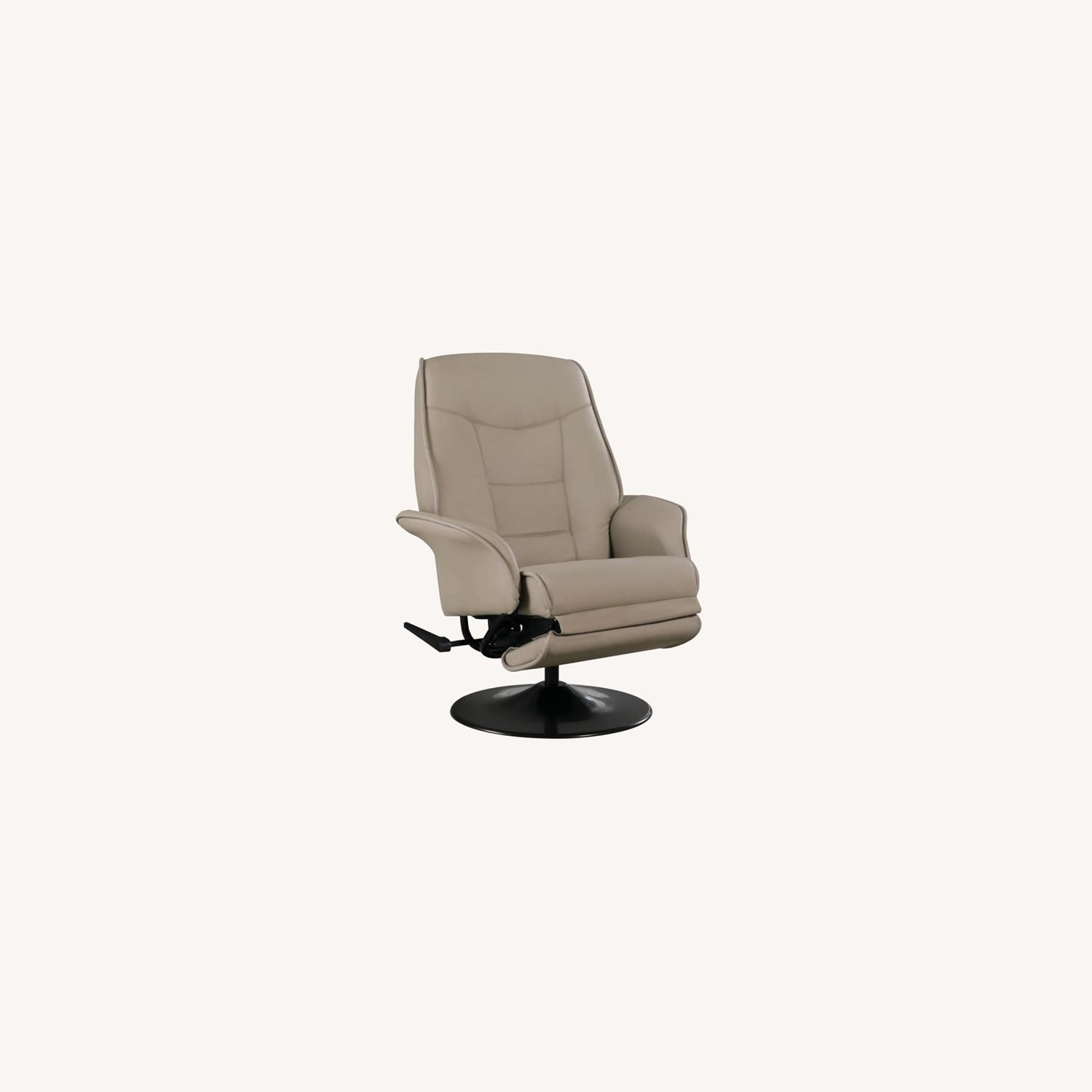 Swivel Recliner In Classic Beige Leatherette - image-8