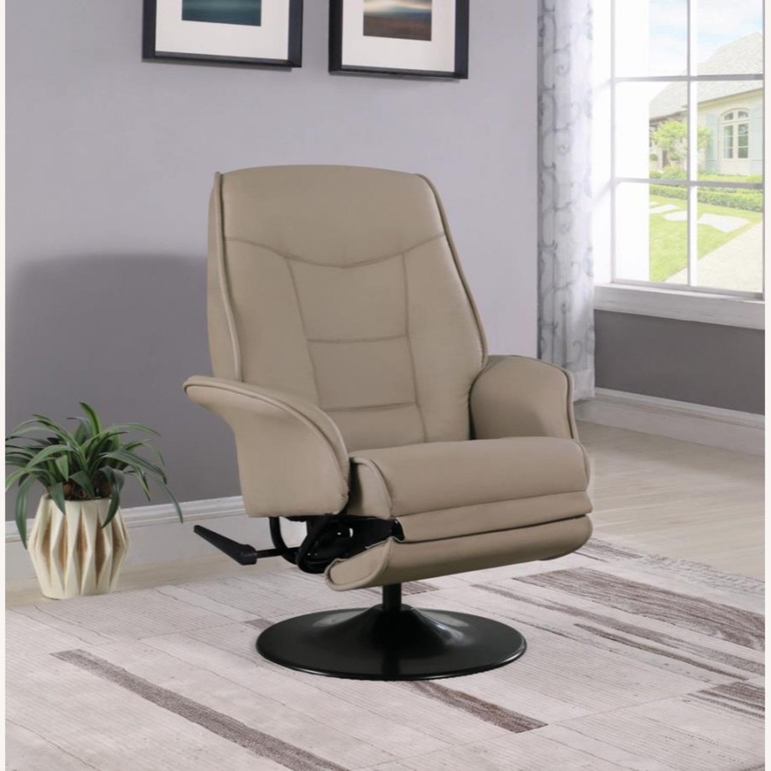 Swivel Recliner In Classic Beige Leatherette - image-7