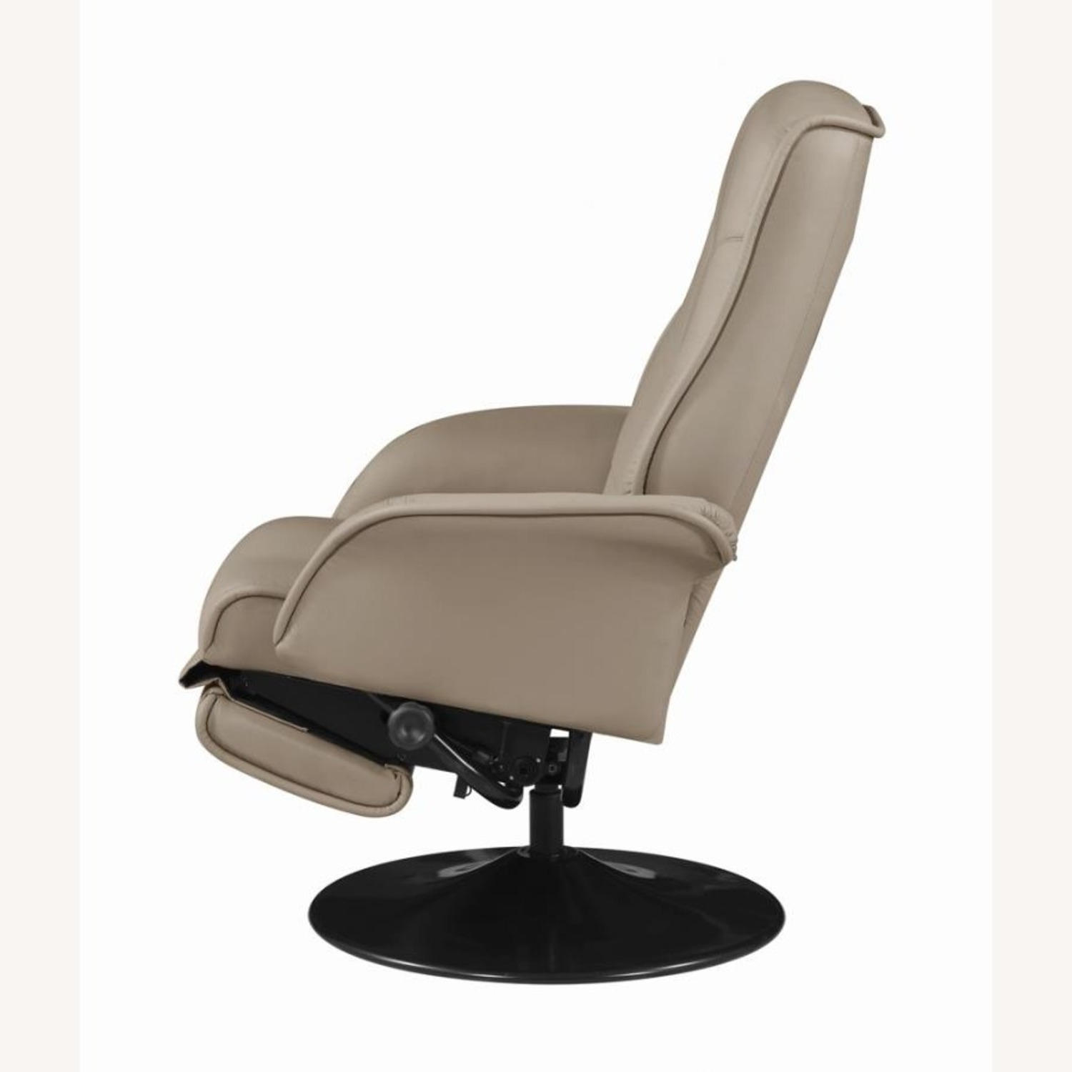 Swivel Recliner In Classic Beige Leatherette - image-3