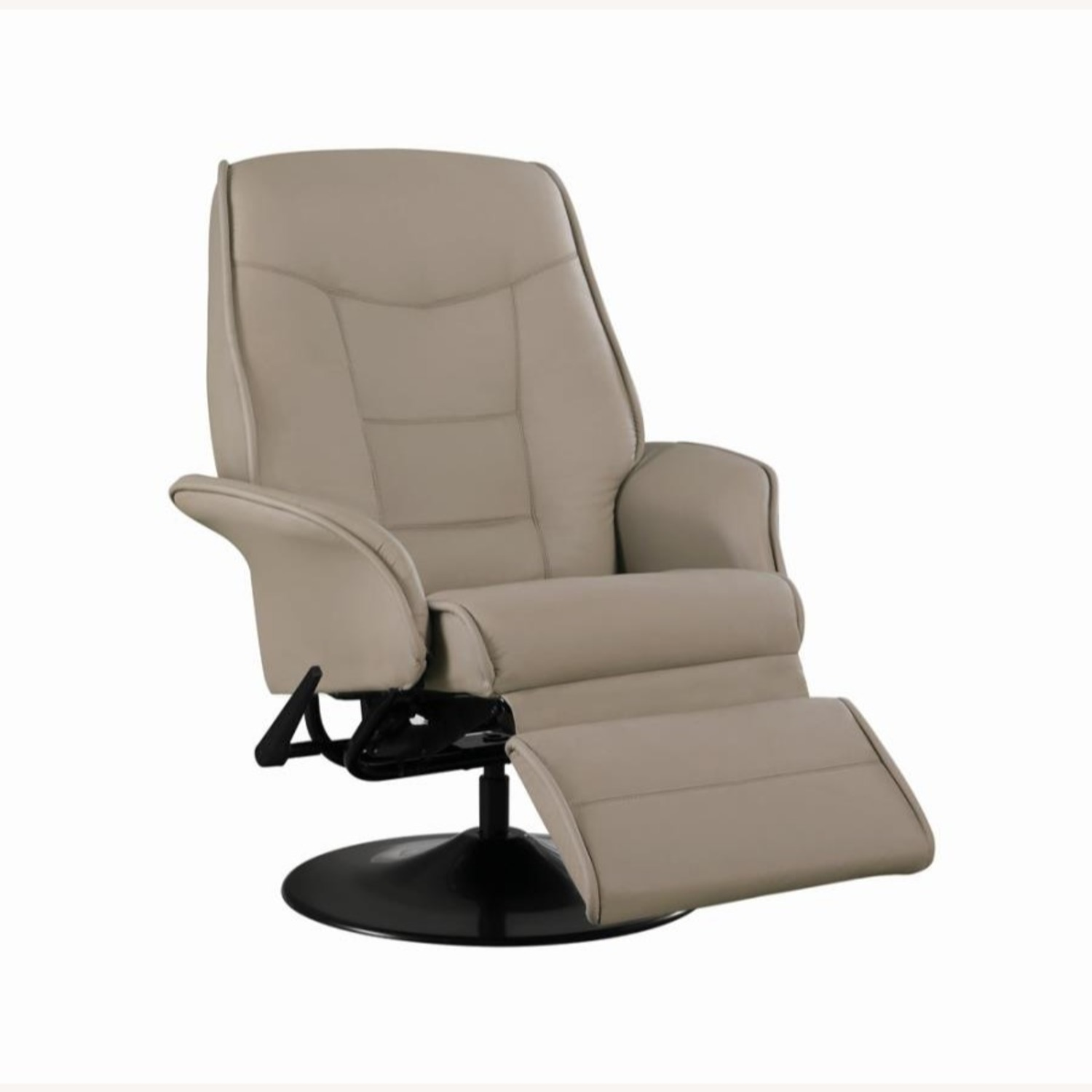 Swivel Recliner In Classic Beige Leatherette - image-1