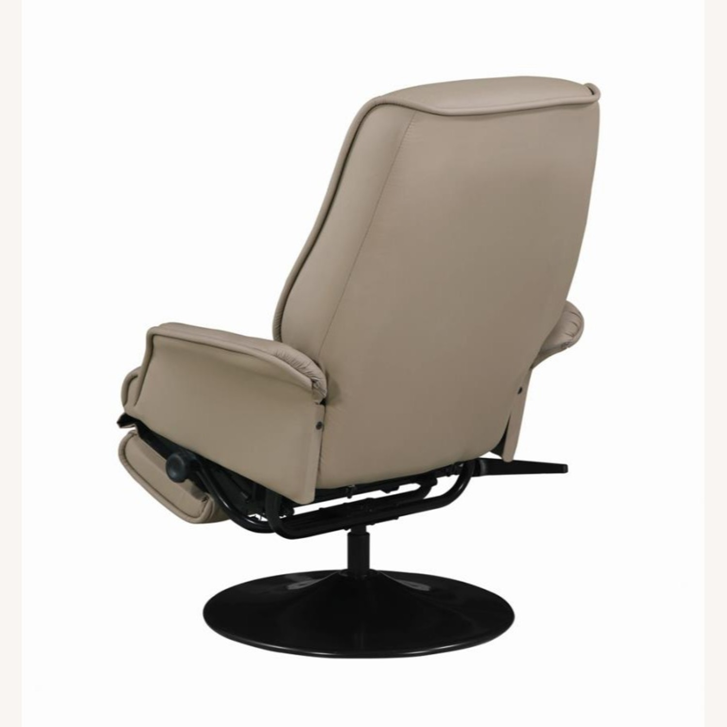 Swivel Recliner In Classic Beige Leatherette - image-5
