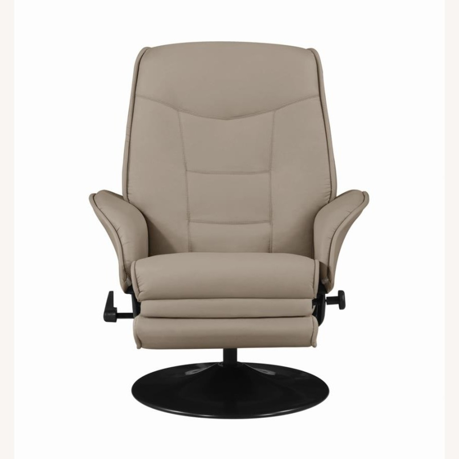 Swivel Recliner In Classic Beige Leatherette - image-2