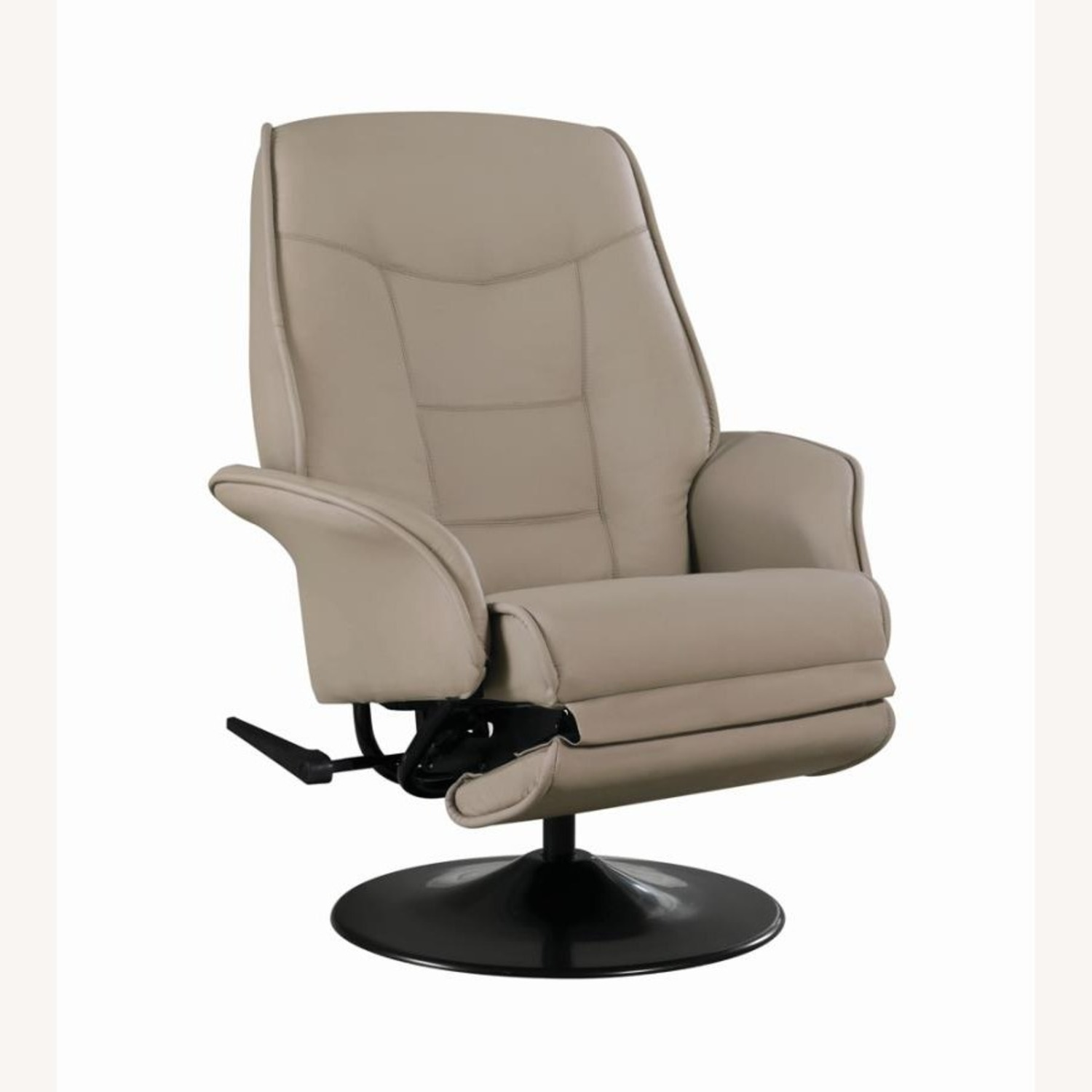 Swivel Recliner In Classic Beige Leatherette - image-0
