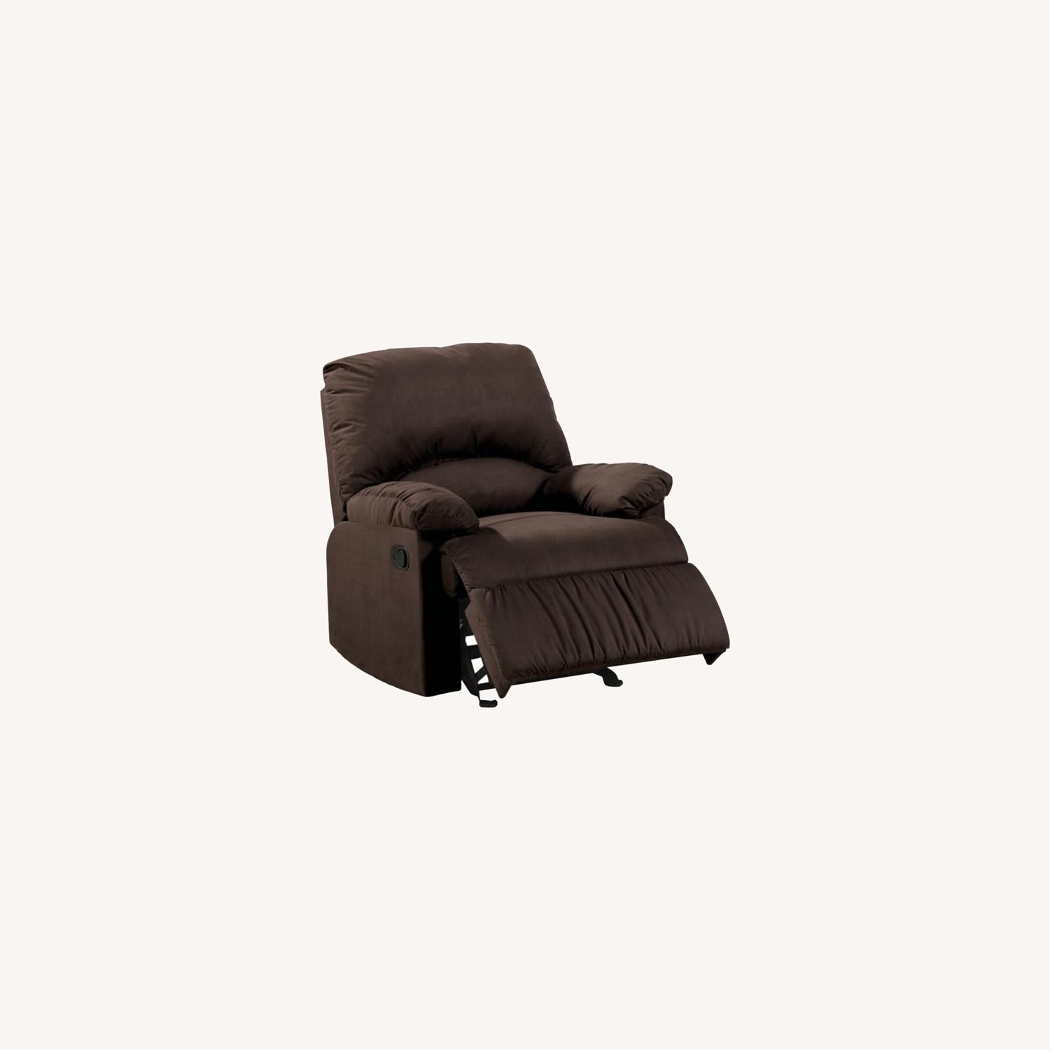 Glider Recliner In Chocolate Microfiber Upholstery - image-3