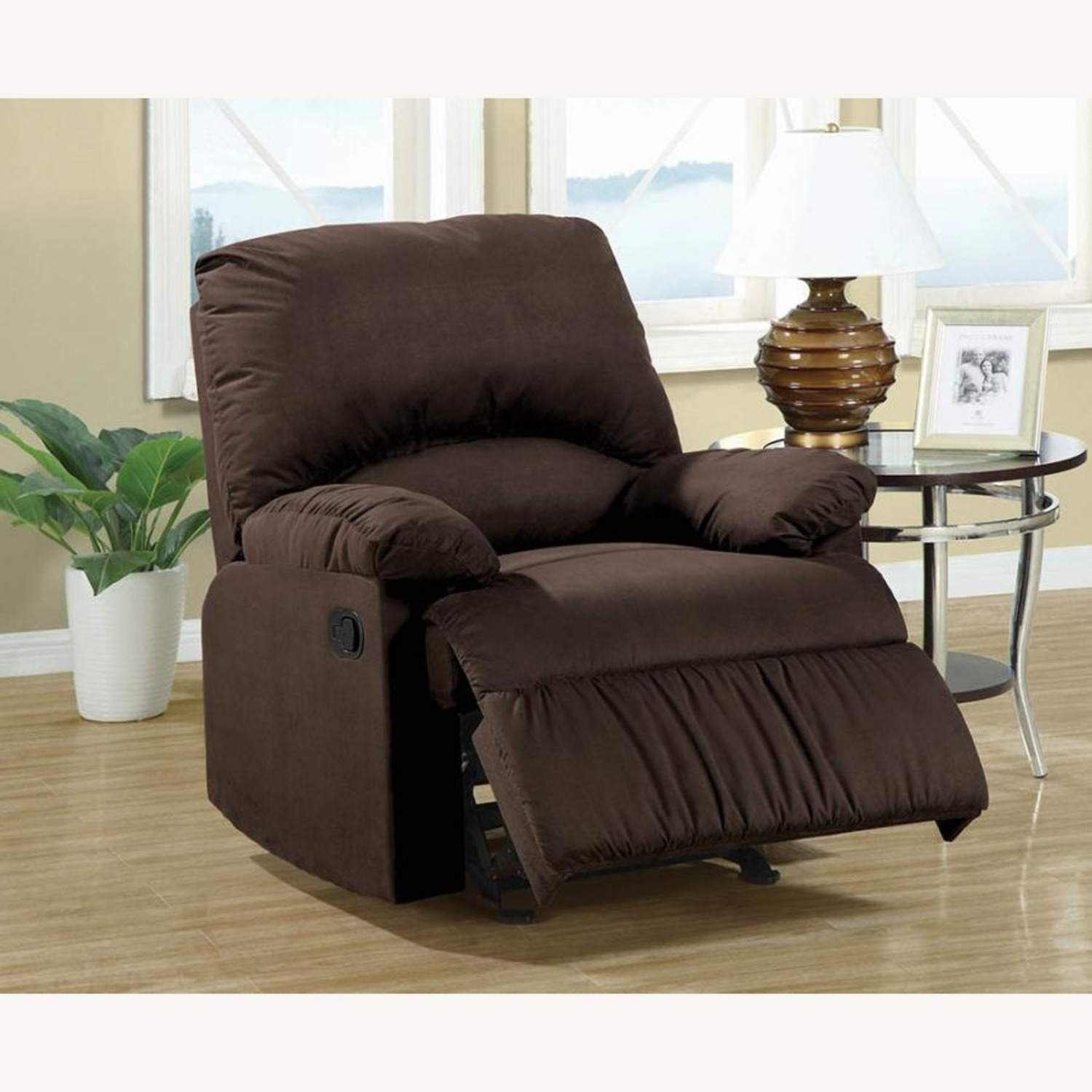 Glider Recliner In Chocolate Microfiber Upholstery - image-2