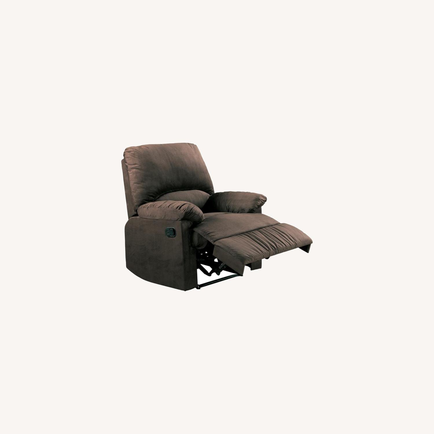 Casual Recliner In Chocolate Microfiber Upholstery - image-3