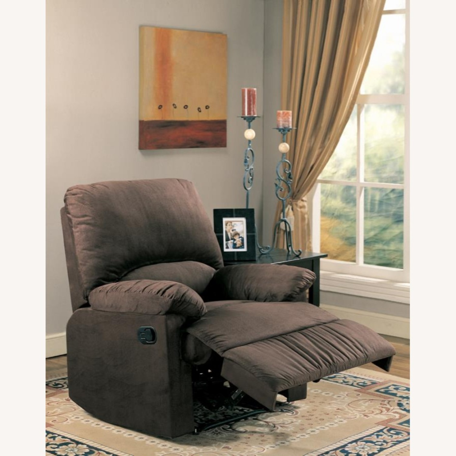 Casual Recliner In Chocolate Microfiber Upholstery - image-2