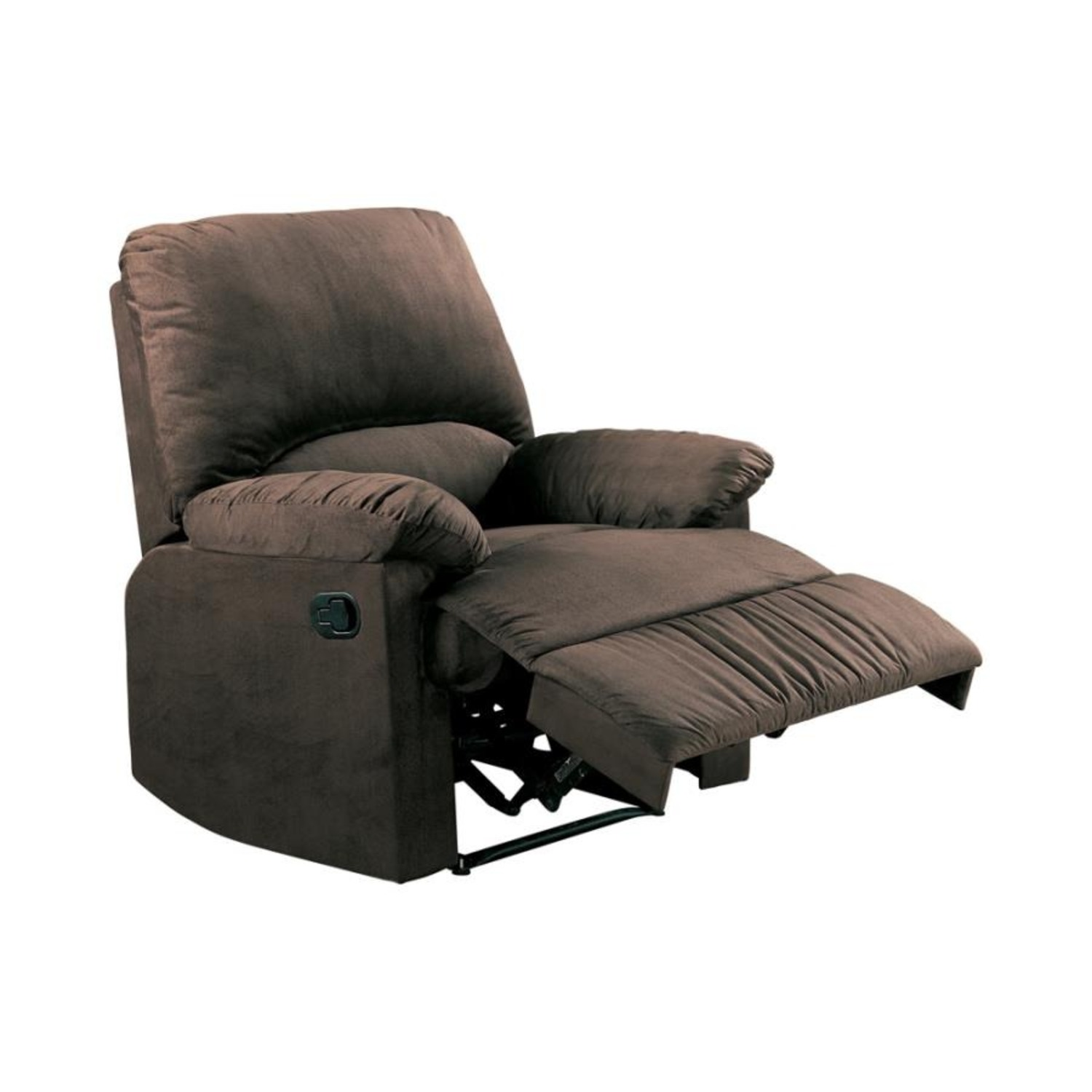 Casual Recliner In Chocolate Microfiber Upholstery - image-0