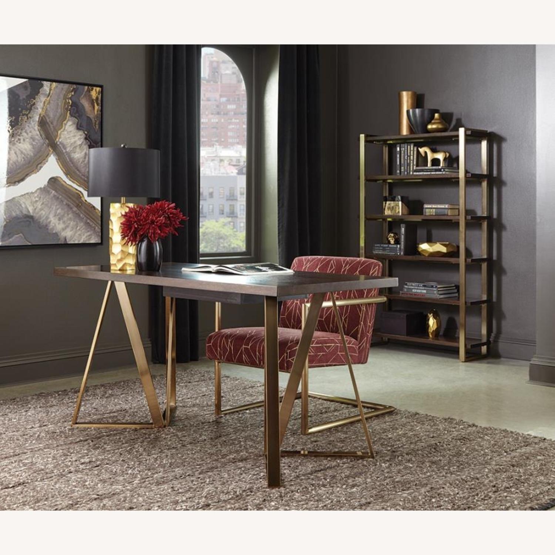 Desk In Walnut Top Finish & Rose Brass Base - image-3