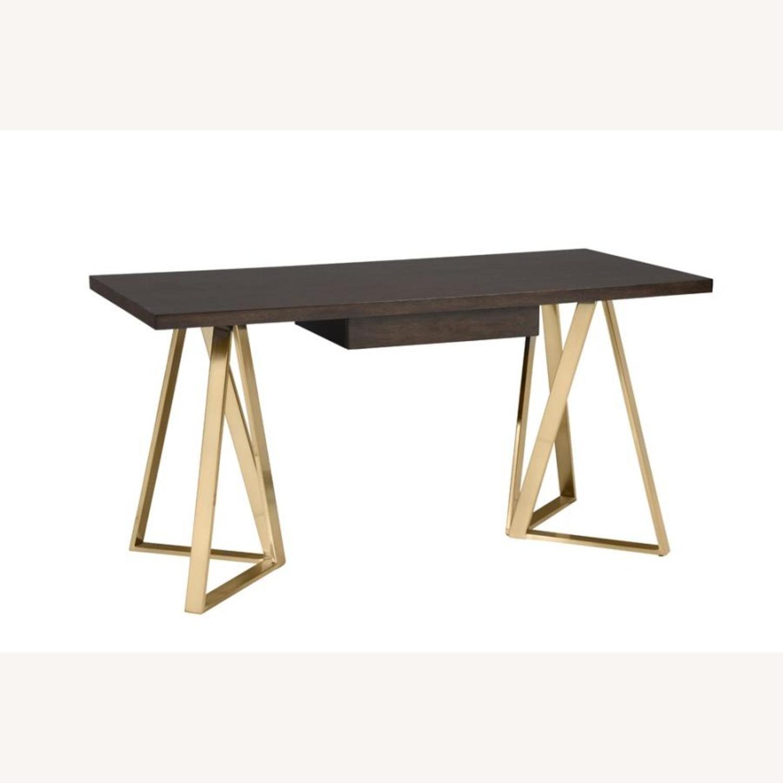 Desk In Walnut Top Finish & Rose Brass Base - image-0