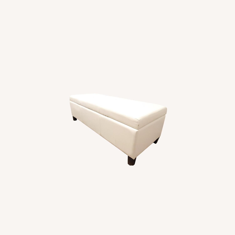 Wayfair Santoro Ivory Faux Leather Storage Bench - image-0