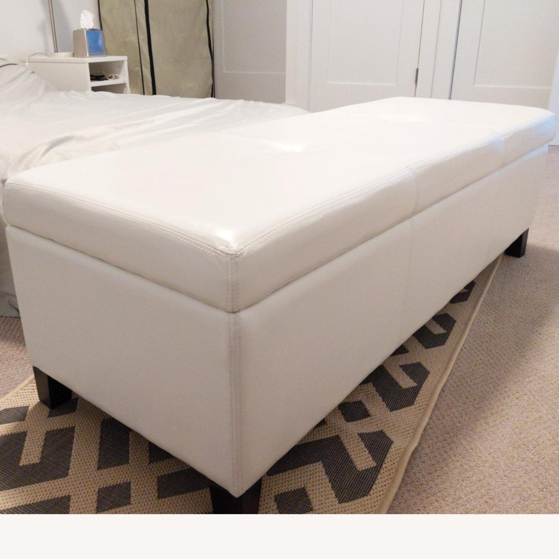 Wayfair Santoro Ivory Faux Leather Storage Bench - image-2