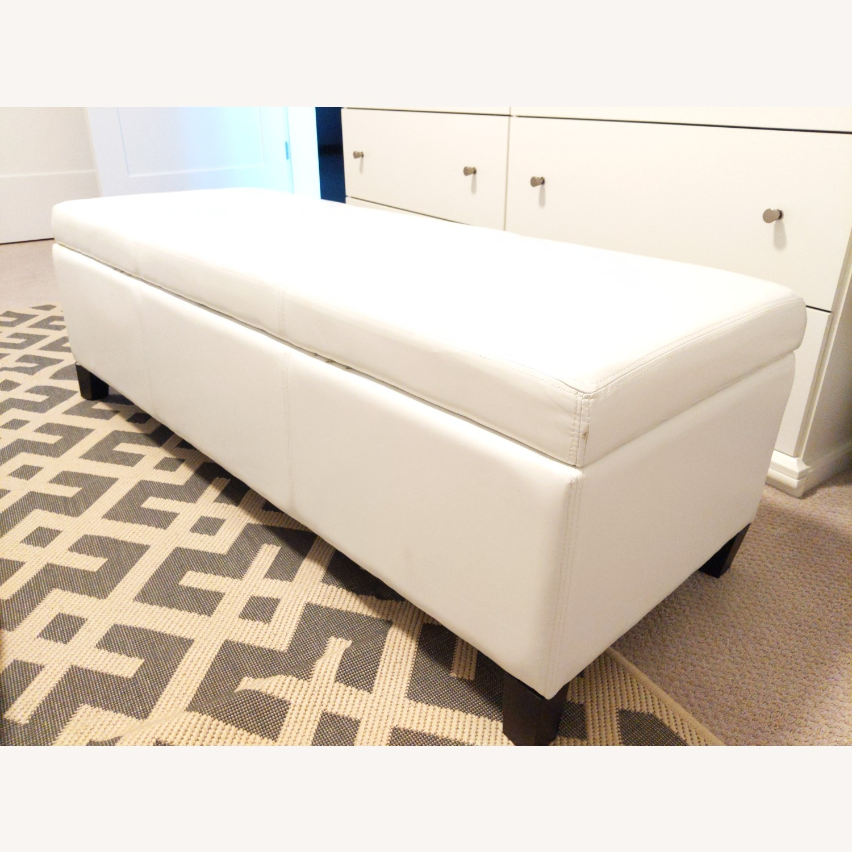 Wayfair Santoro Ivory Faux Leather Storage Bench - image-1