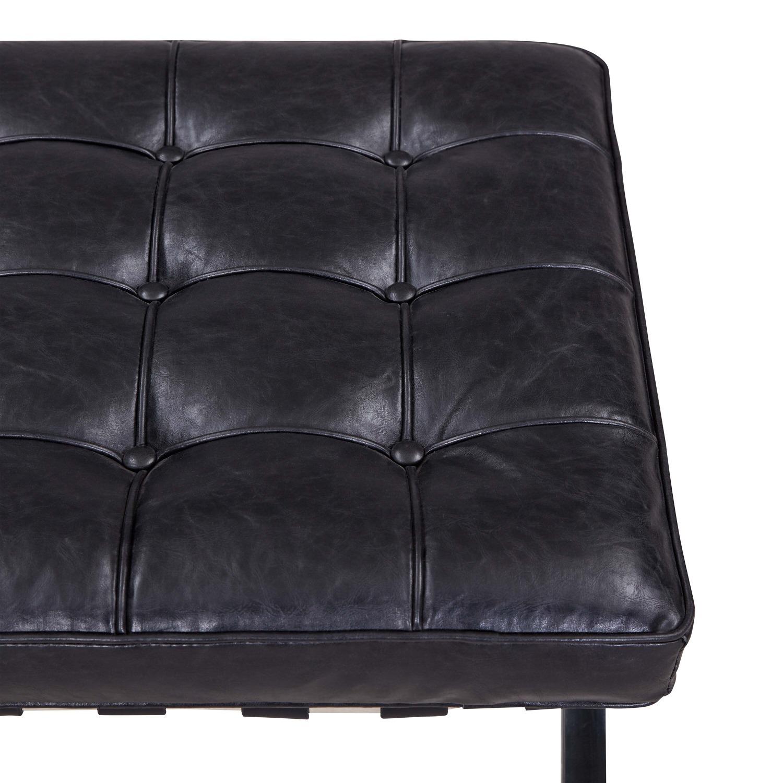 Set of 2 Black Faux Leather Ottomans - image-3