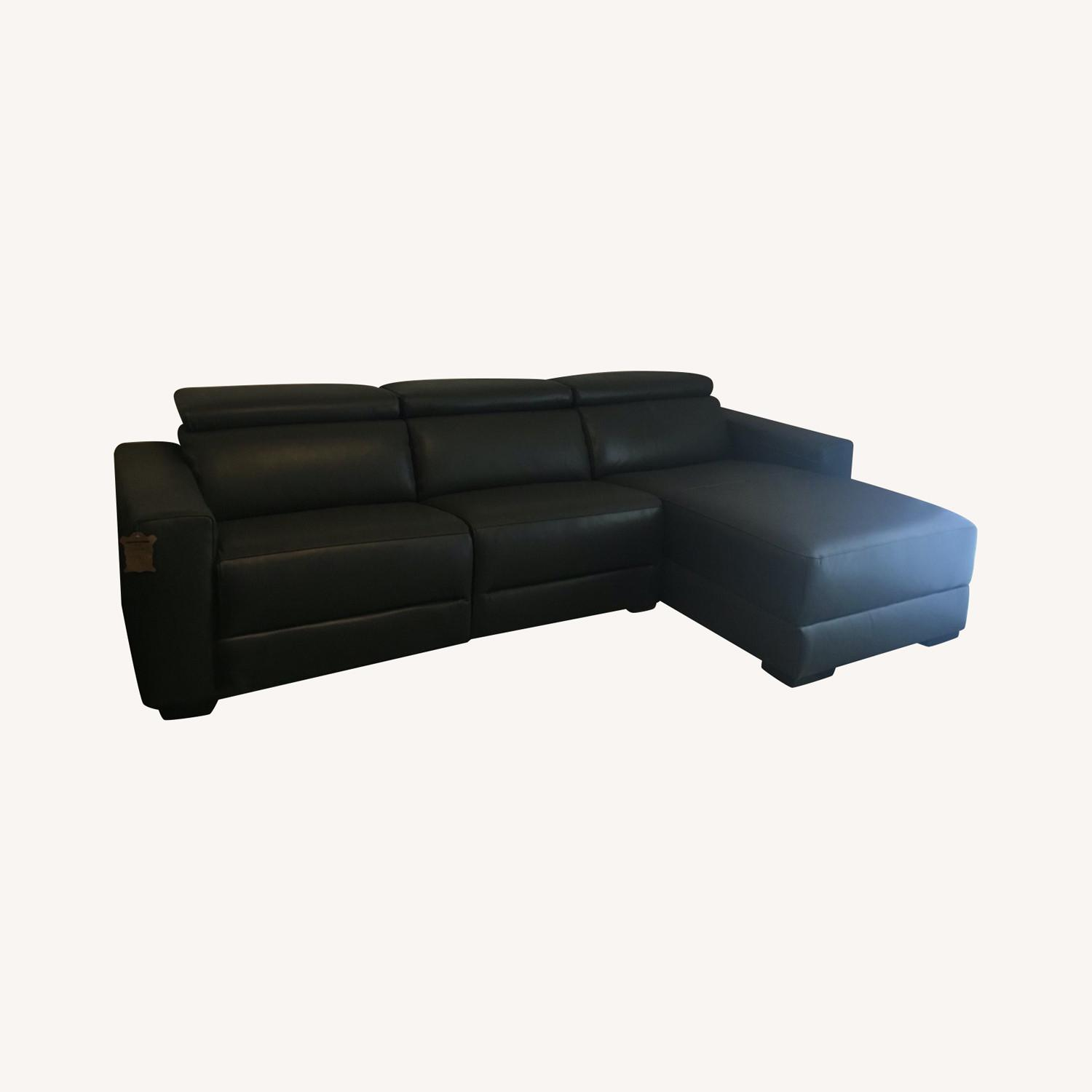 Macy's Nevio 3-pc Leather Sectional Sofa with Chaise - image-0
