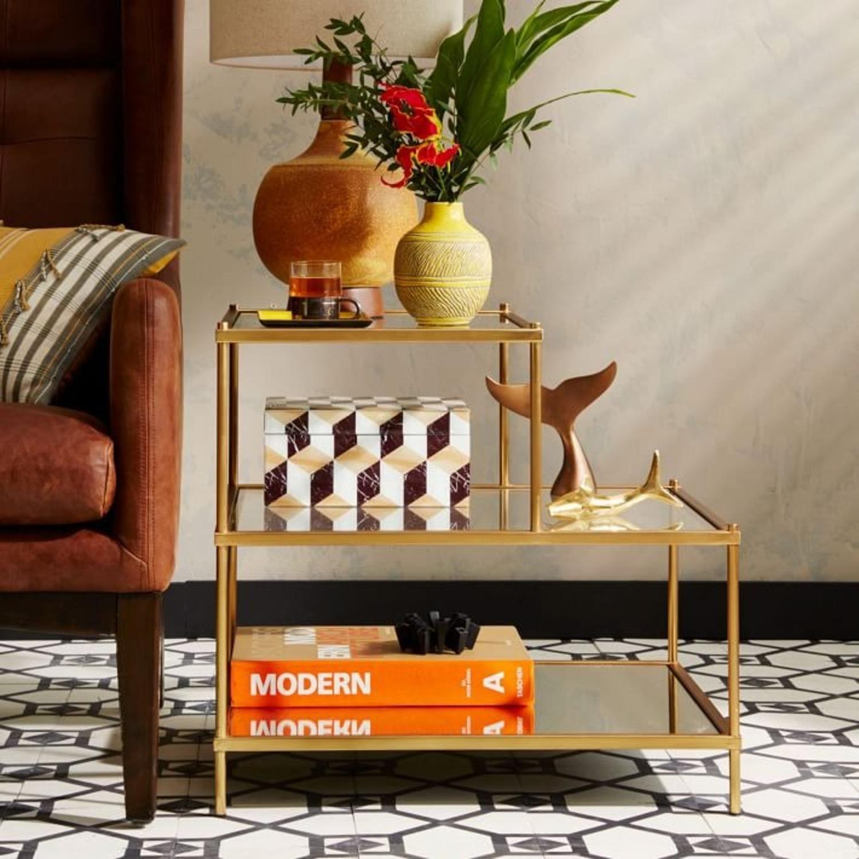 West Elm Terrace Side Table, Glass/Antique Brass - image-2