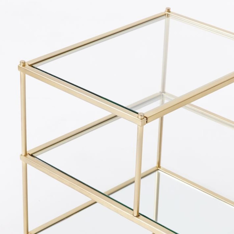 West Elm Terrace Side Table, Glass/Antique Brass - image-3
