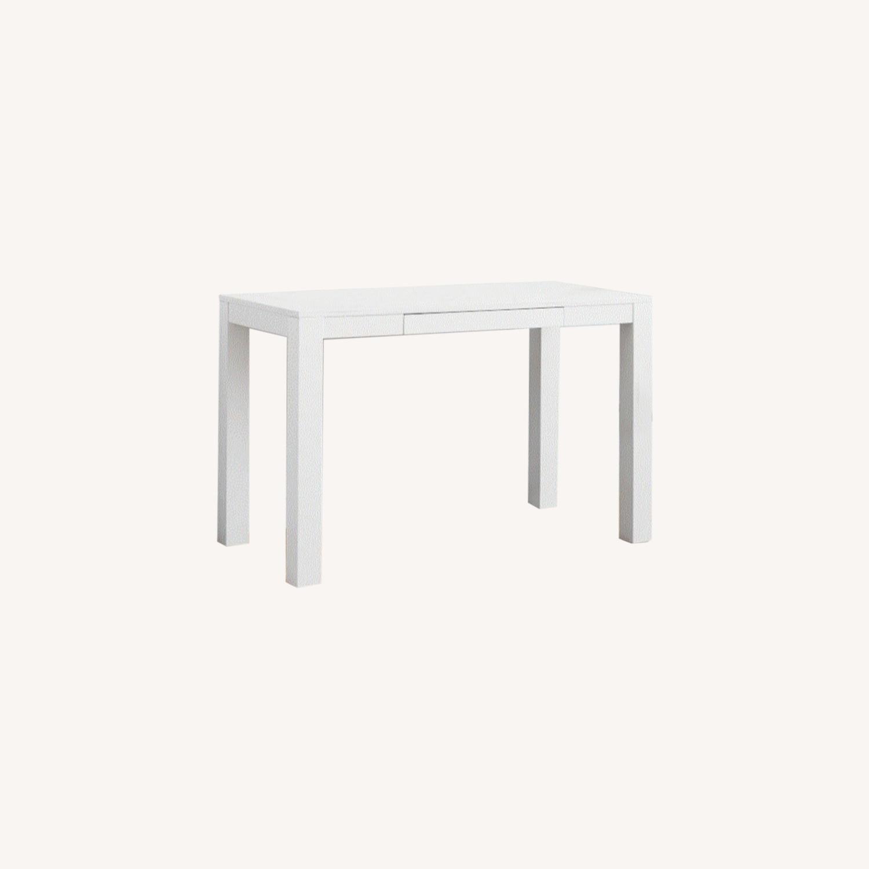 West Elm White Parsons Desk - image-0
