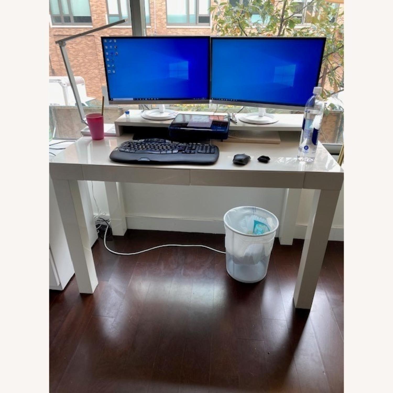 West Elm White Parsons Desk - image-5