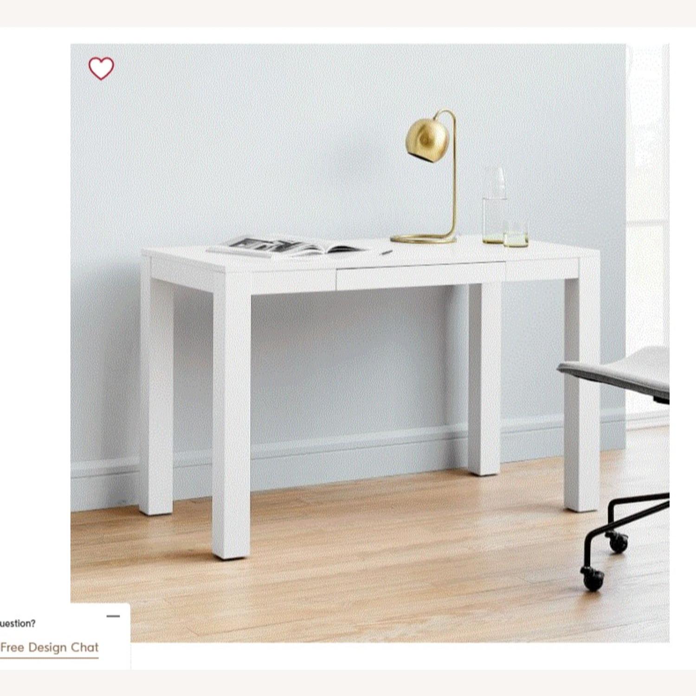 West Elm White Parsons Desk - image-2