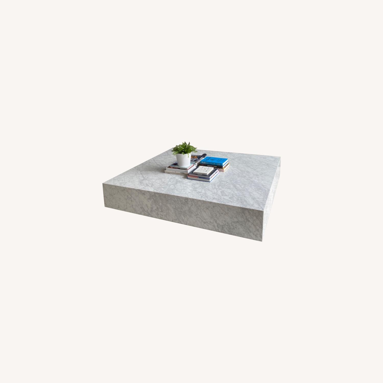 Restoration Hardware White Marble Coffee Table - image-0