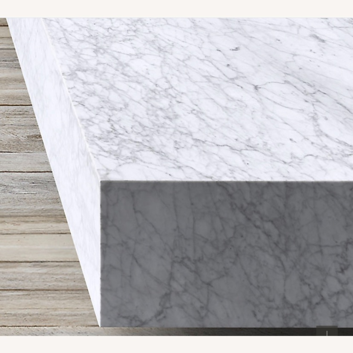 Restoration Hardware White Marble Coffee Table - image-3