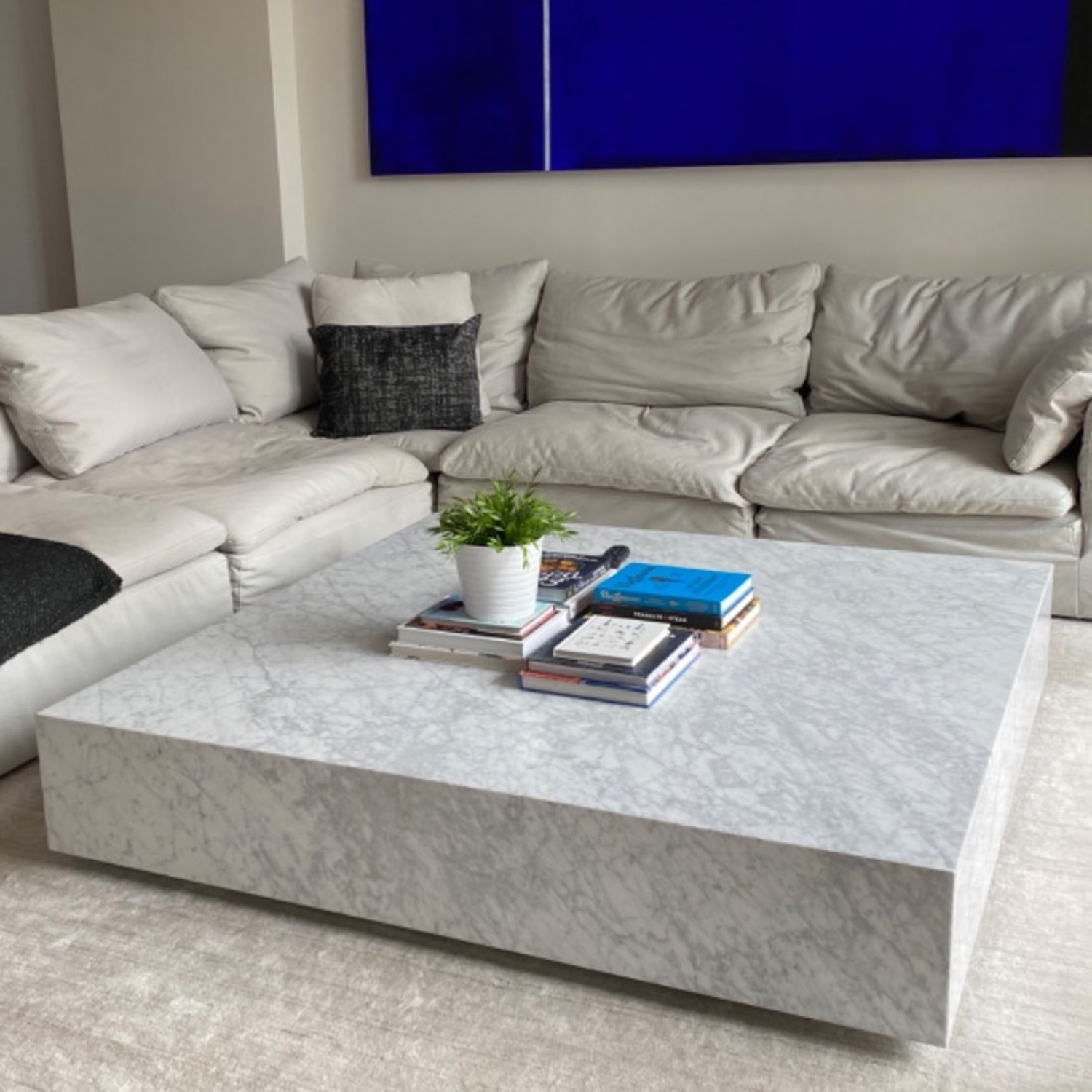 Restoration Hardware White Marble Coffee Table - image-1