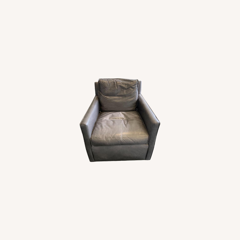 Restoration Hardware Gray Leather Swivel Chair - image-0