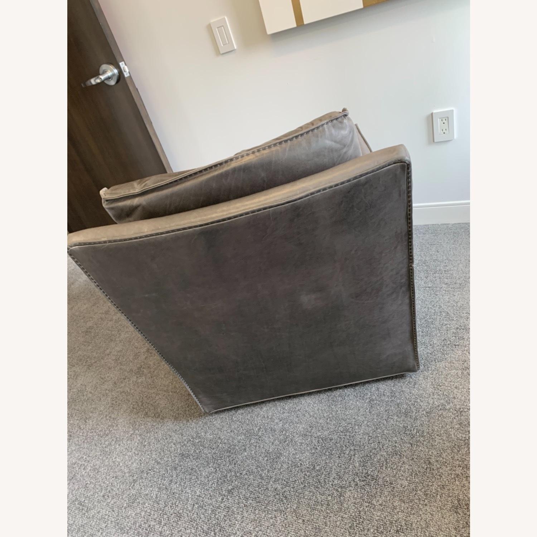 Restoration Hardware Gray Leather Swivel Chair - image-4
