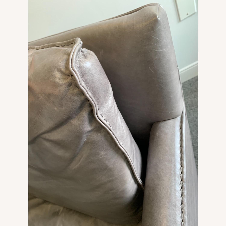 Restoration Hardware Gray Leather Swivel Chair - image-2