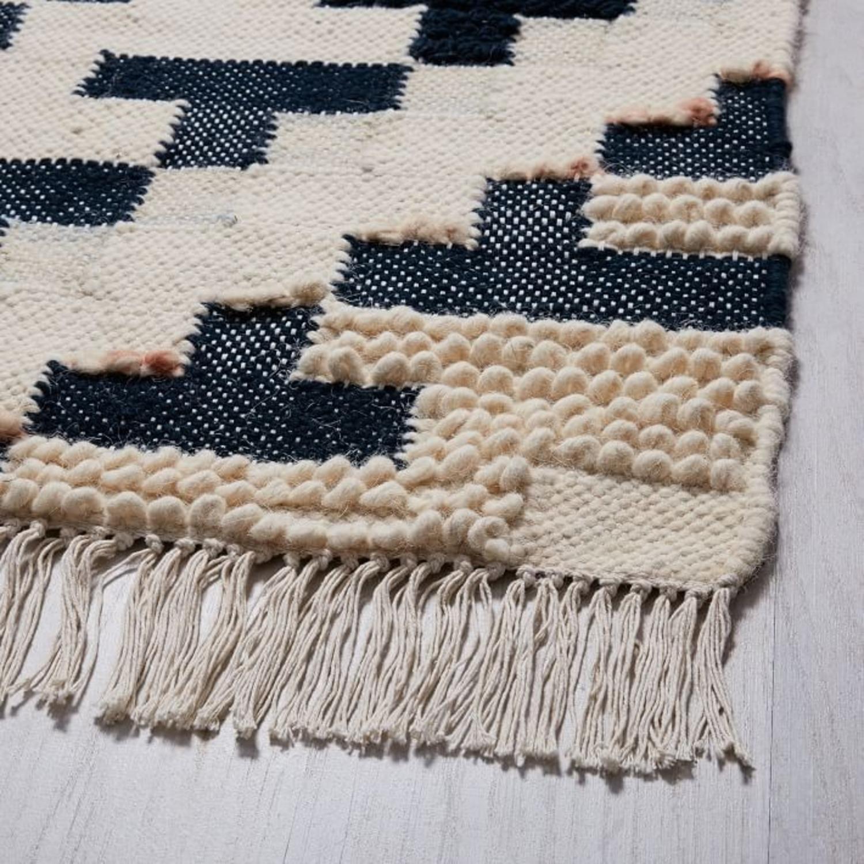 West Elm Checkerboard Diamond Wool Dhurrie - image-2