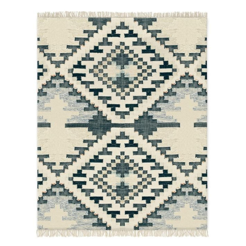 West Elm Checkerboard Diamond Wool Dhurrie - image-0