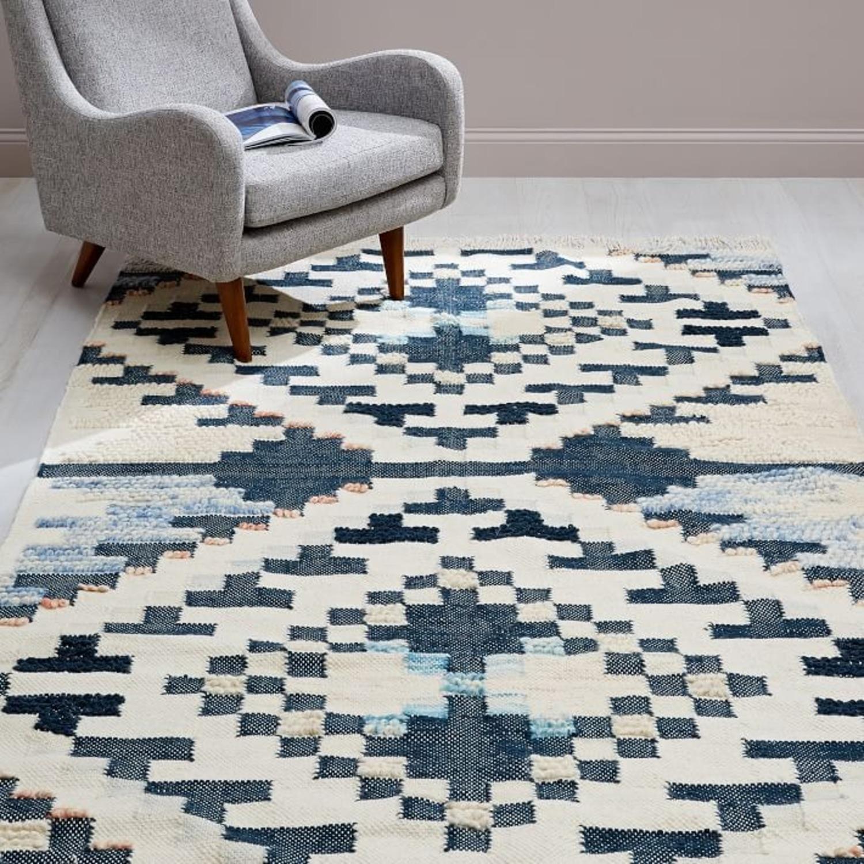West Elm Checkerboard Diamond Wool Dhurrie - image-1