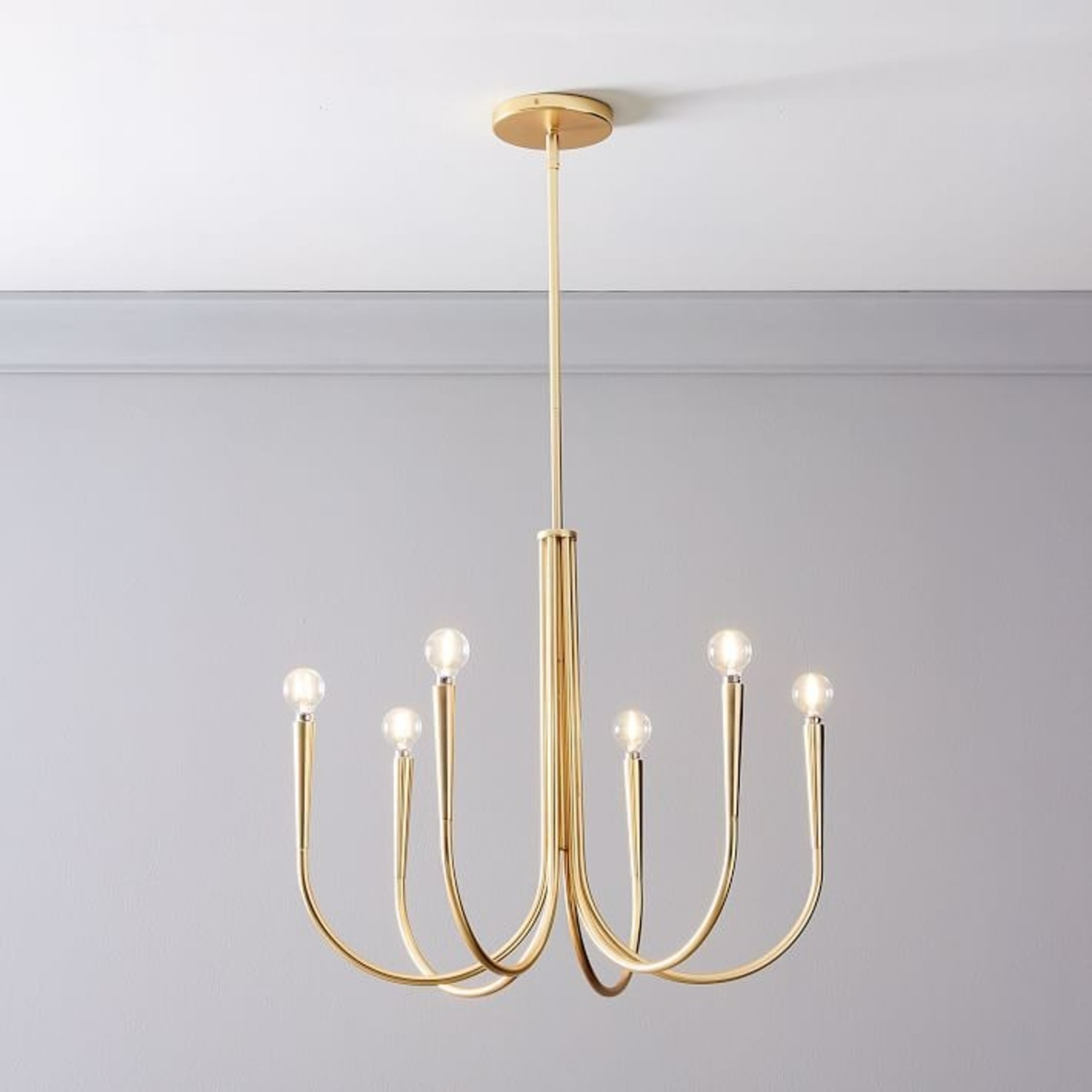 West Elm Swoop Arm Chandelier, Small, Brass - image-0
