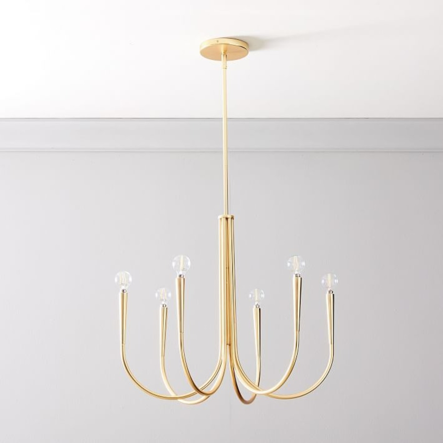 West Elm Swoop Arm Chandelier, Small, Brass - image-1