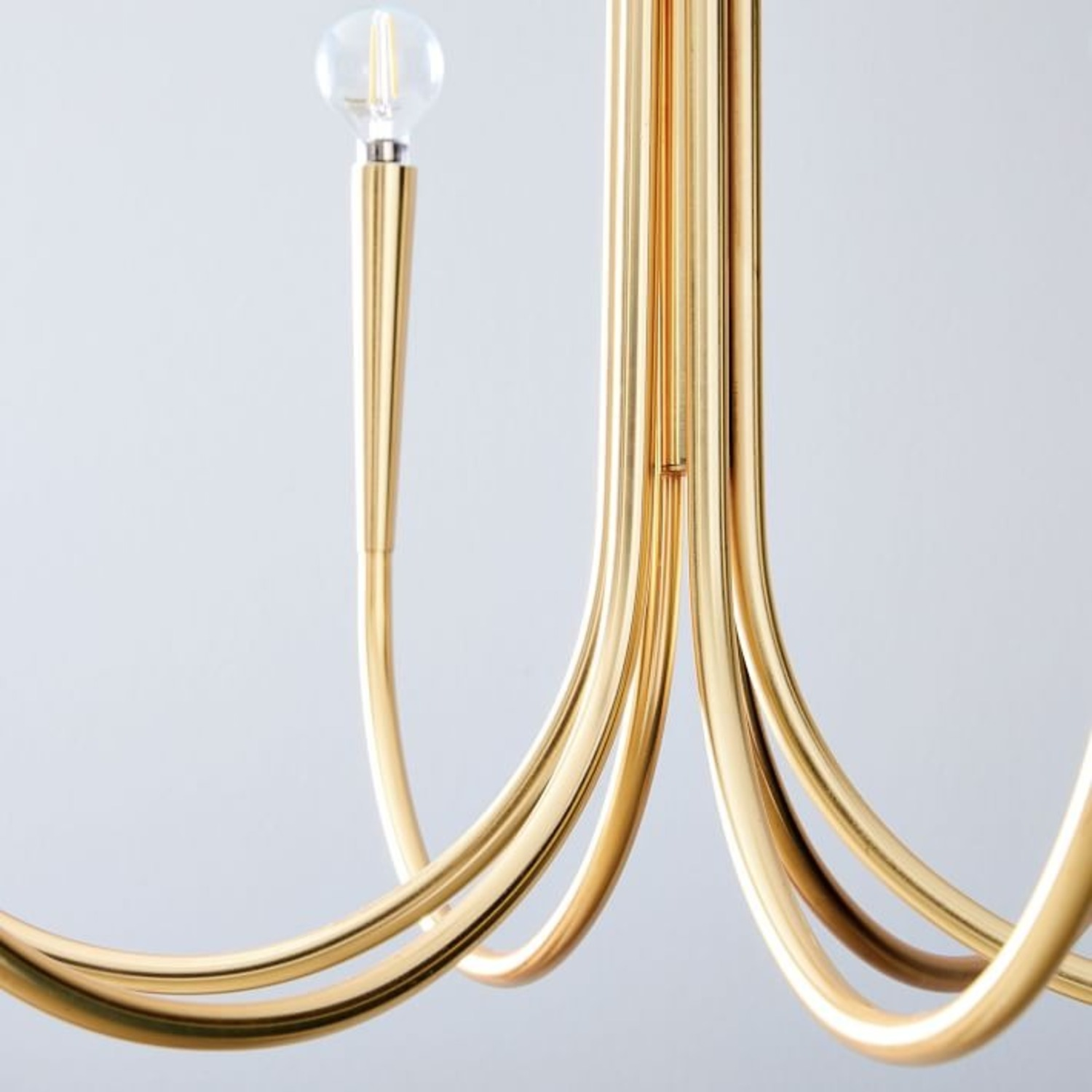 West Elm Swoop Arm Chandelier, Small, Brass - image-2
