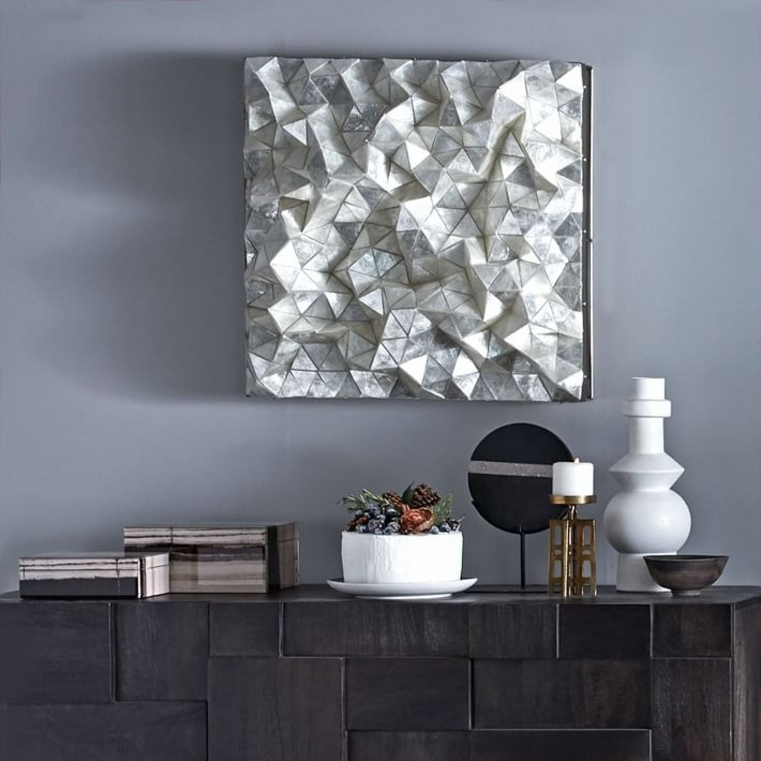 West Elm Capiz Wall Art Faceted Square - image-0