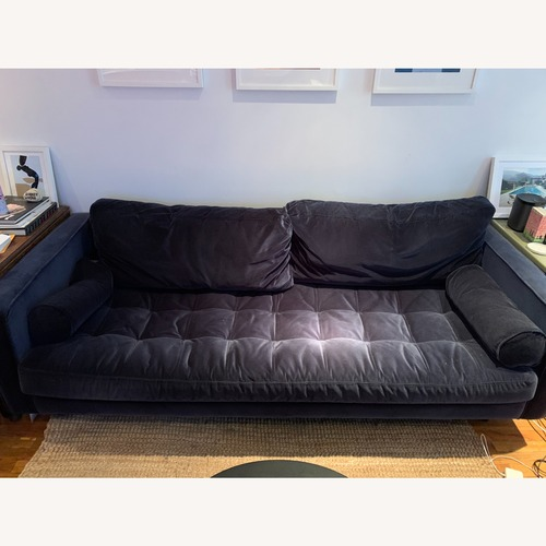 Used Article Blue Velvet Couch for sale on AptDeco