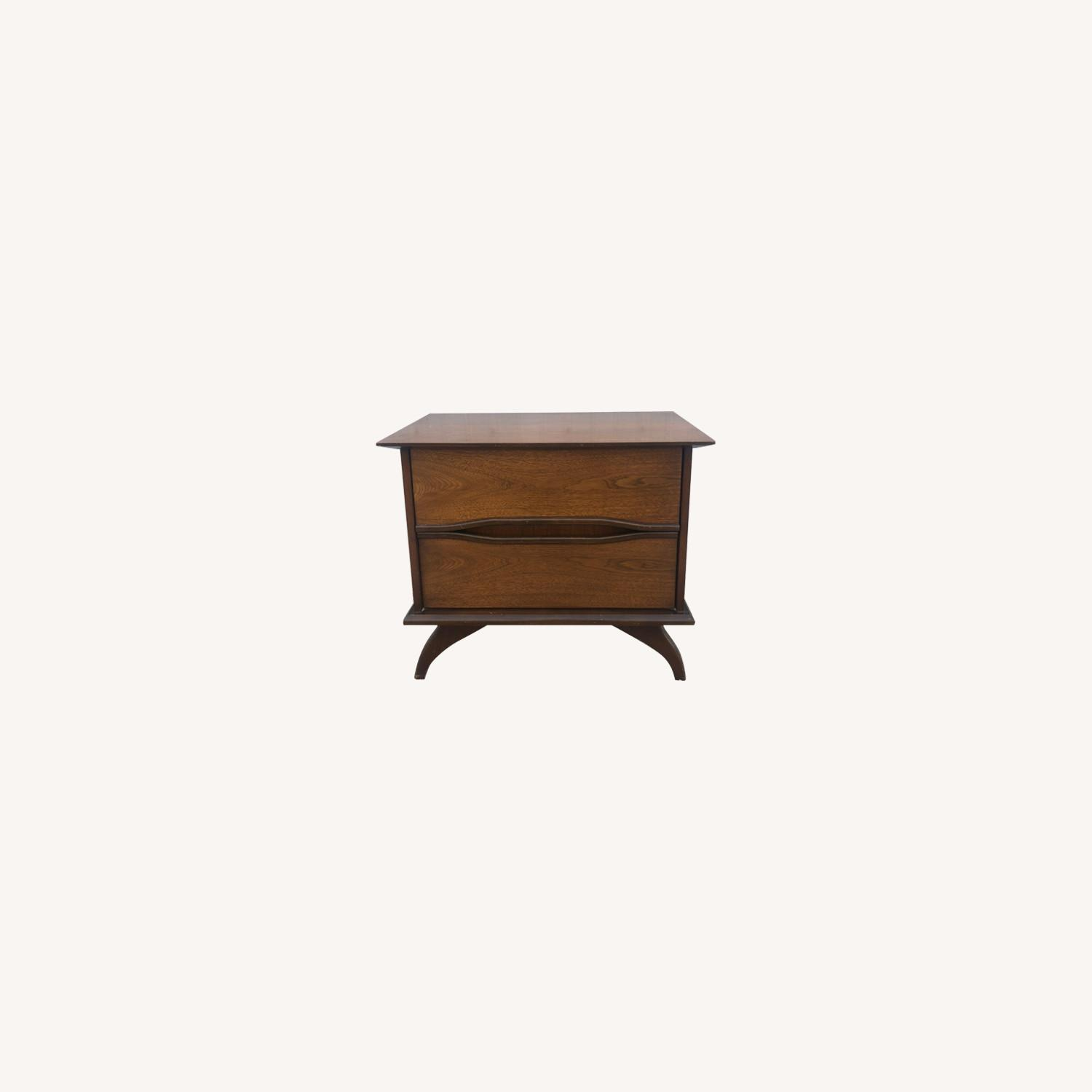 Mid Century Modern Nightstand With Two Drawers Aptdeco