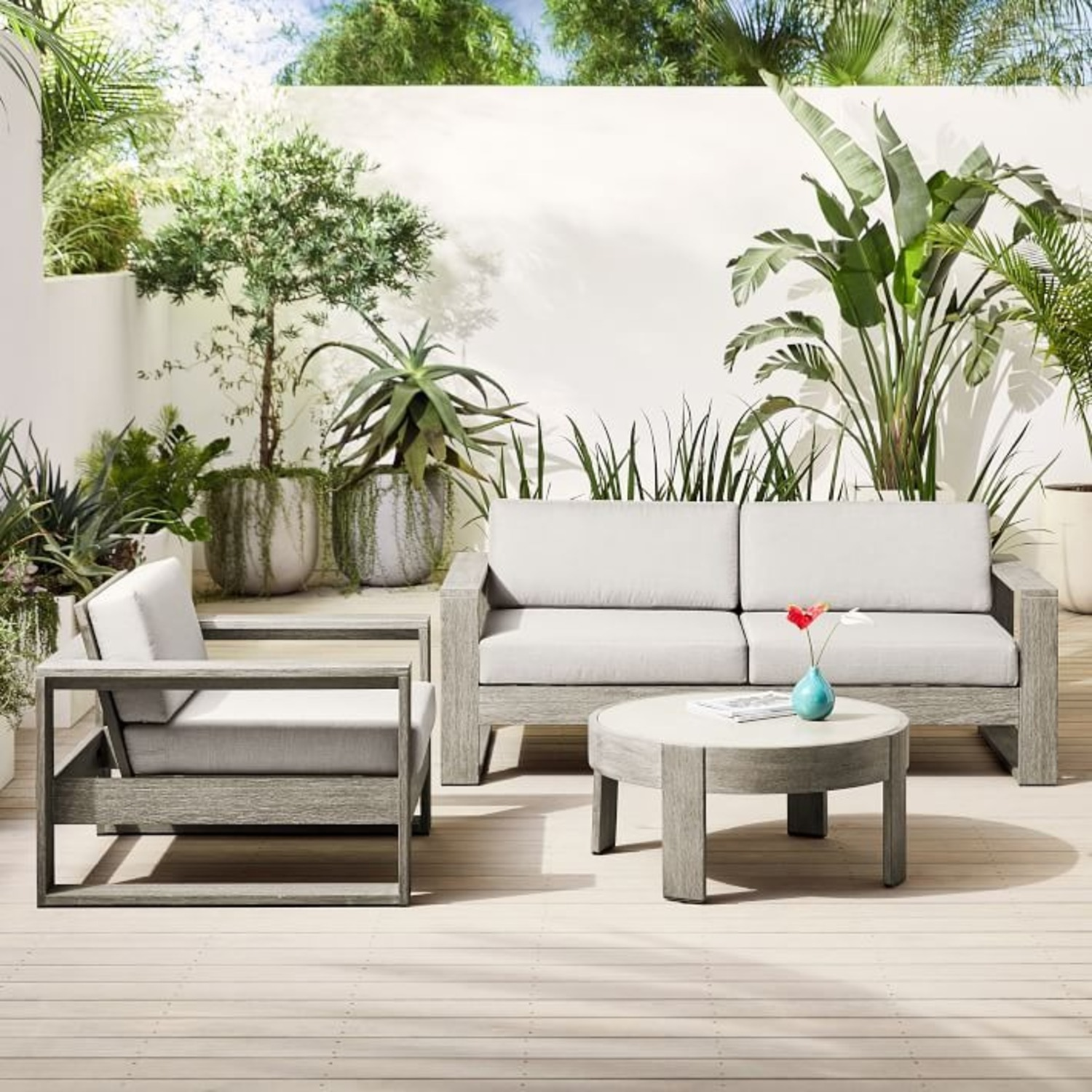 West Elm Portside Outdoor Concrete Coffee Table - image-3