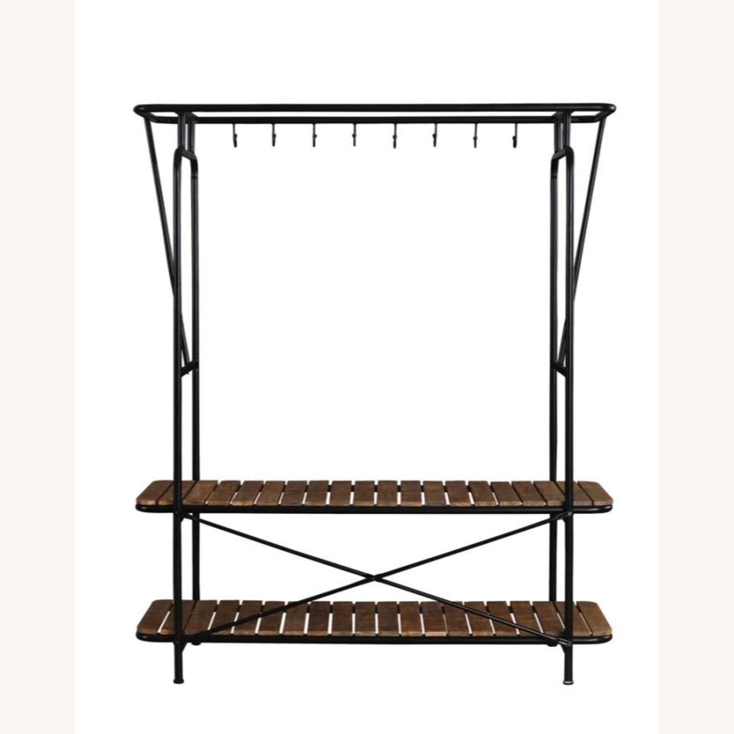 2-In-1 Clothes & Shoe Rack In Tobacco Finish - image-1