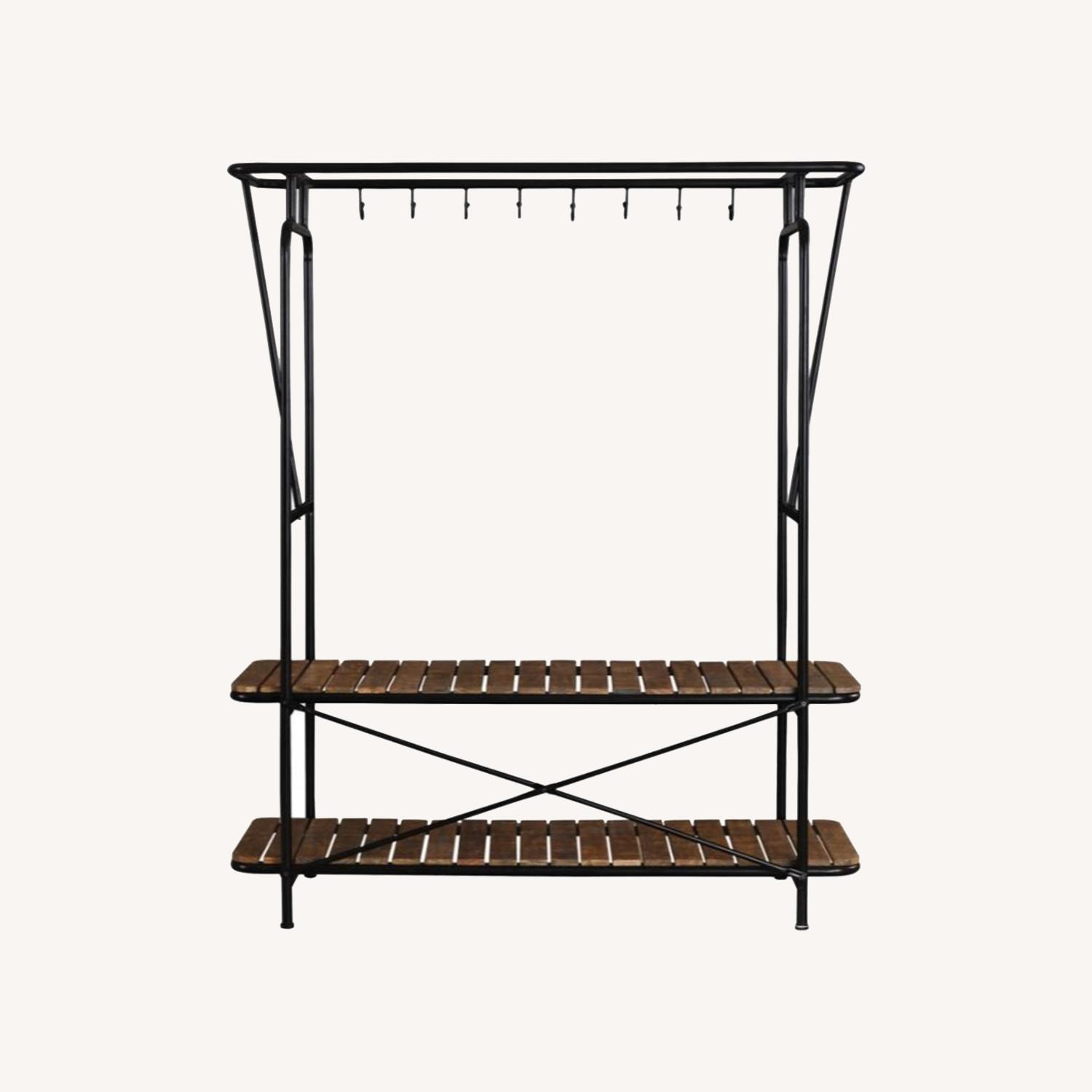 2-In-1 Clothes & Shoe Rack In Tobacco Finish - image-4