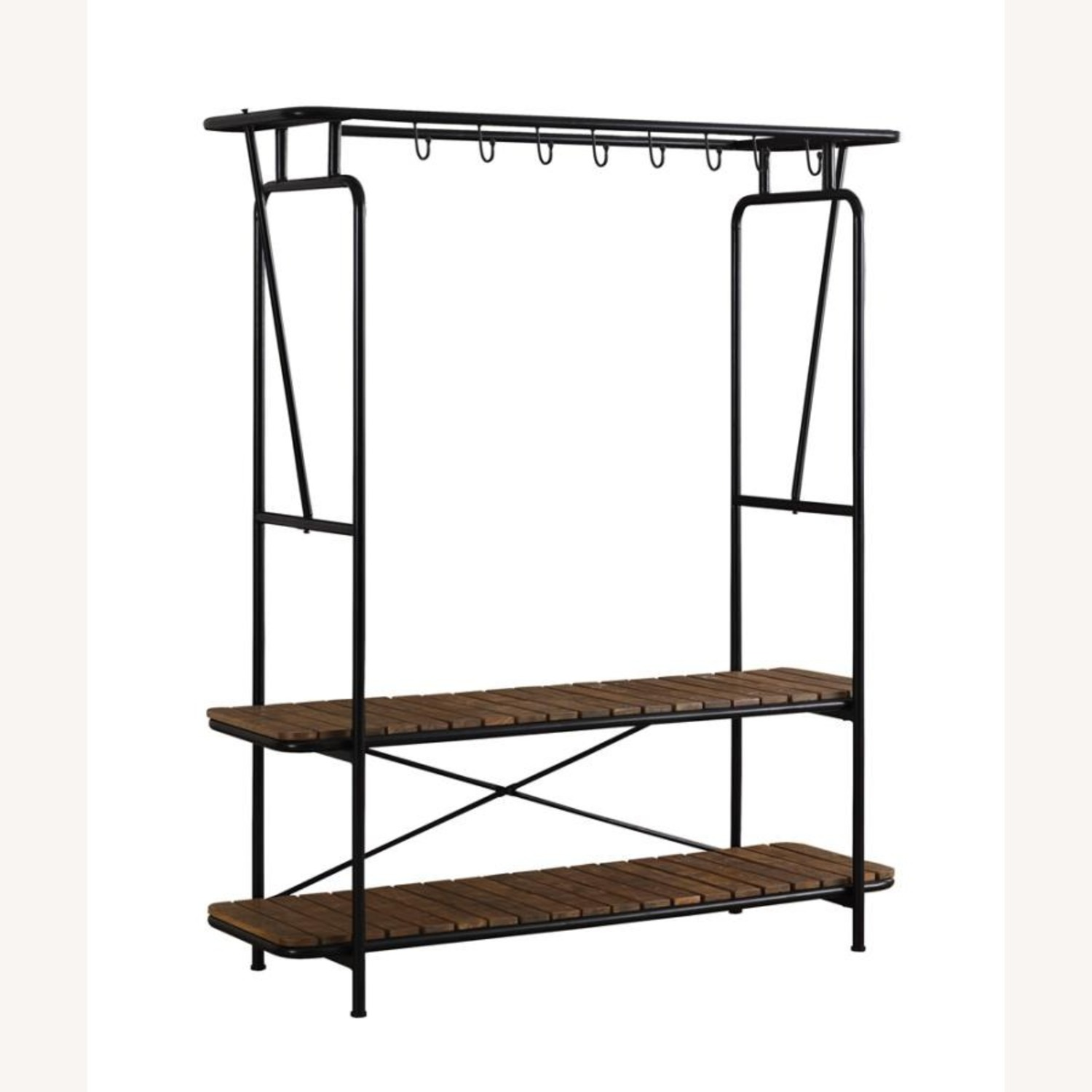 2-In-1 Clothes & Shoe Rack In Tobacco Finish - image-0