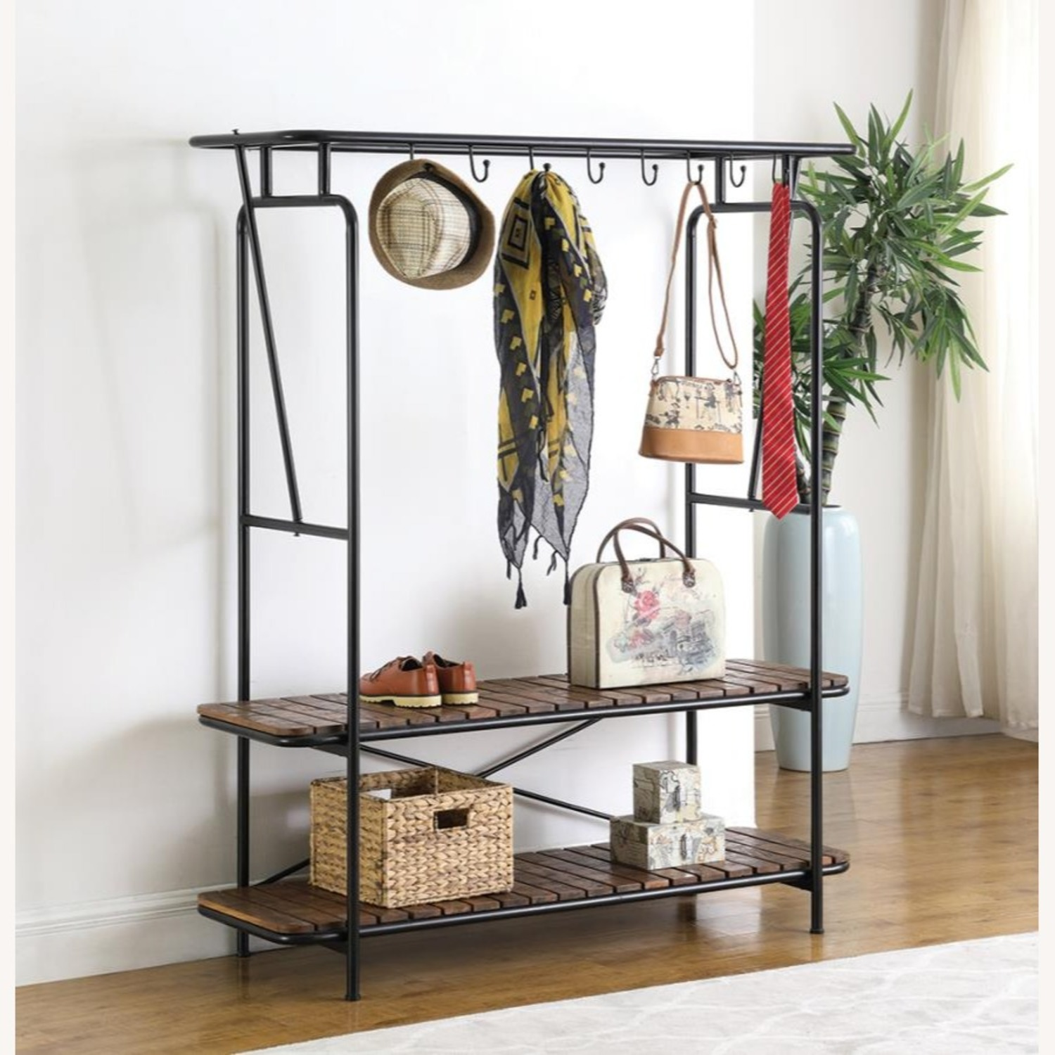 2-In-1 Clothes & Shoe Rack In Tobacco Finish - image-3