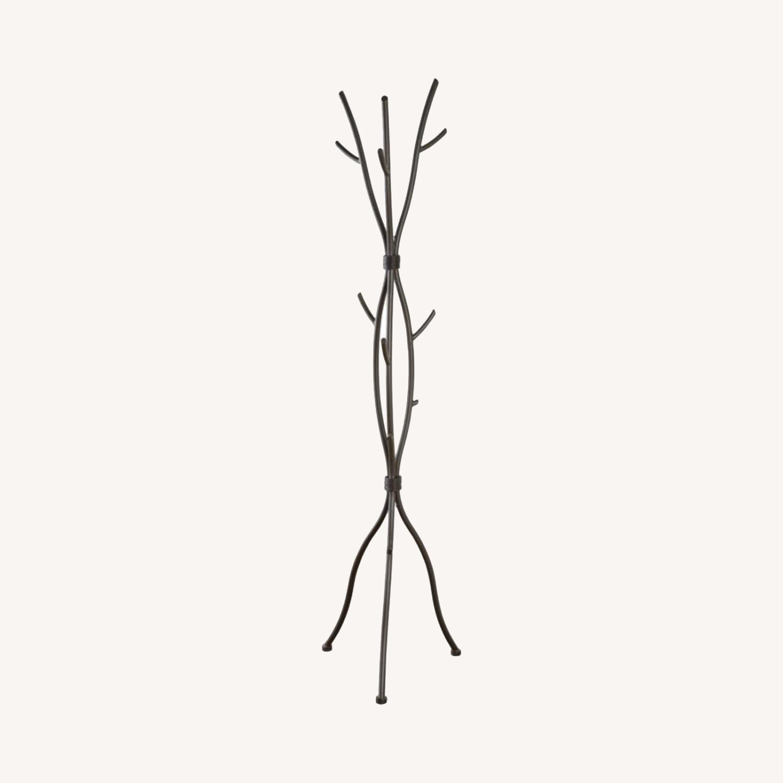 Coat Rack In Brown Finish W/ Six Coat Hooks - image-3