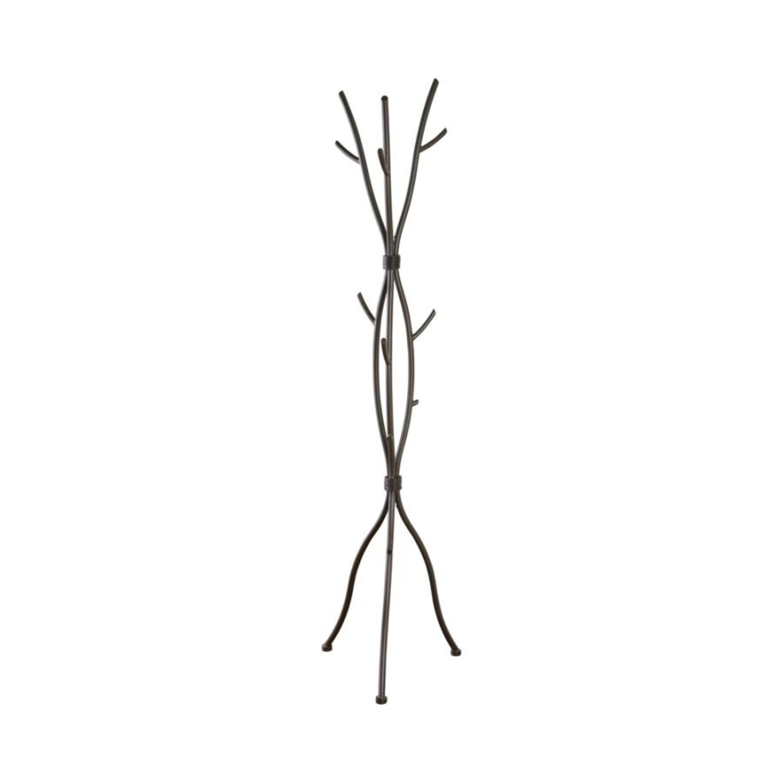 Coat Rack In Brown Finish W/ Six Coat Hooks - image-1