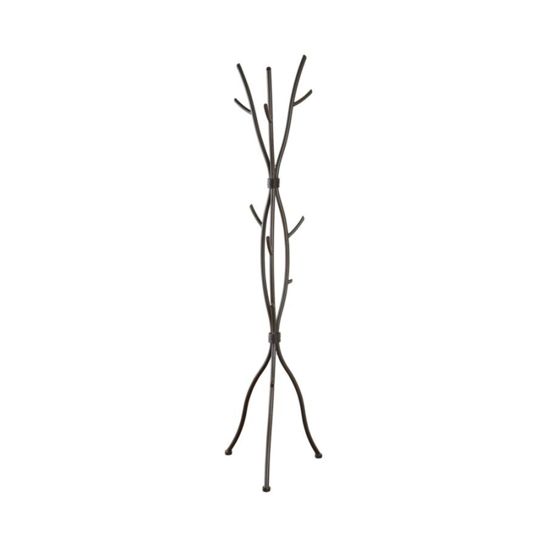 Coat Rack In Brown Finish W/ Six Coat Hooks - image-0